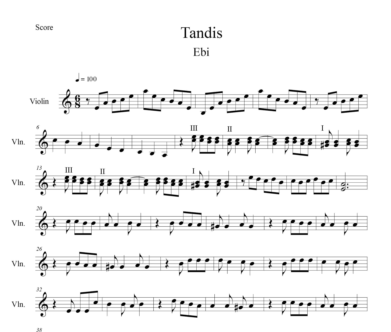نت ویولن تندیس ابی ( بانوی موسیقی و گل)