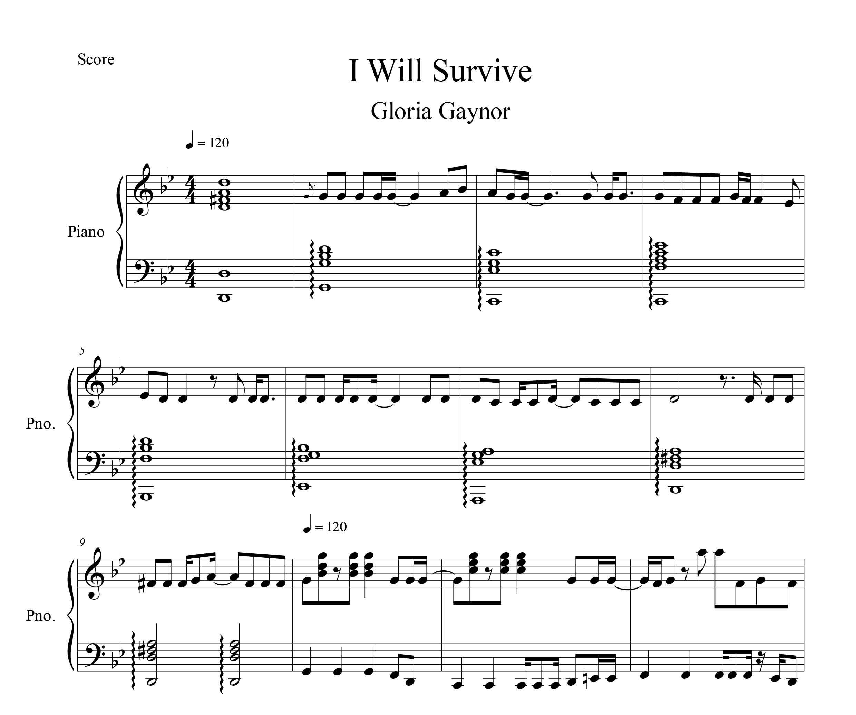 نت پیانو I Will Survive از Gloria Gaynor