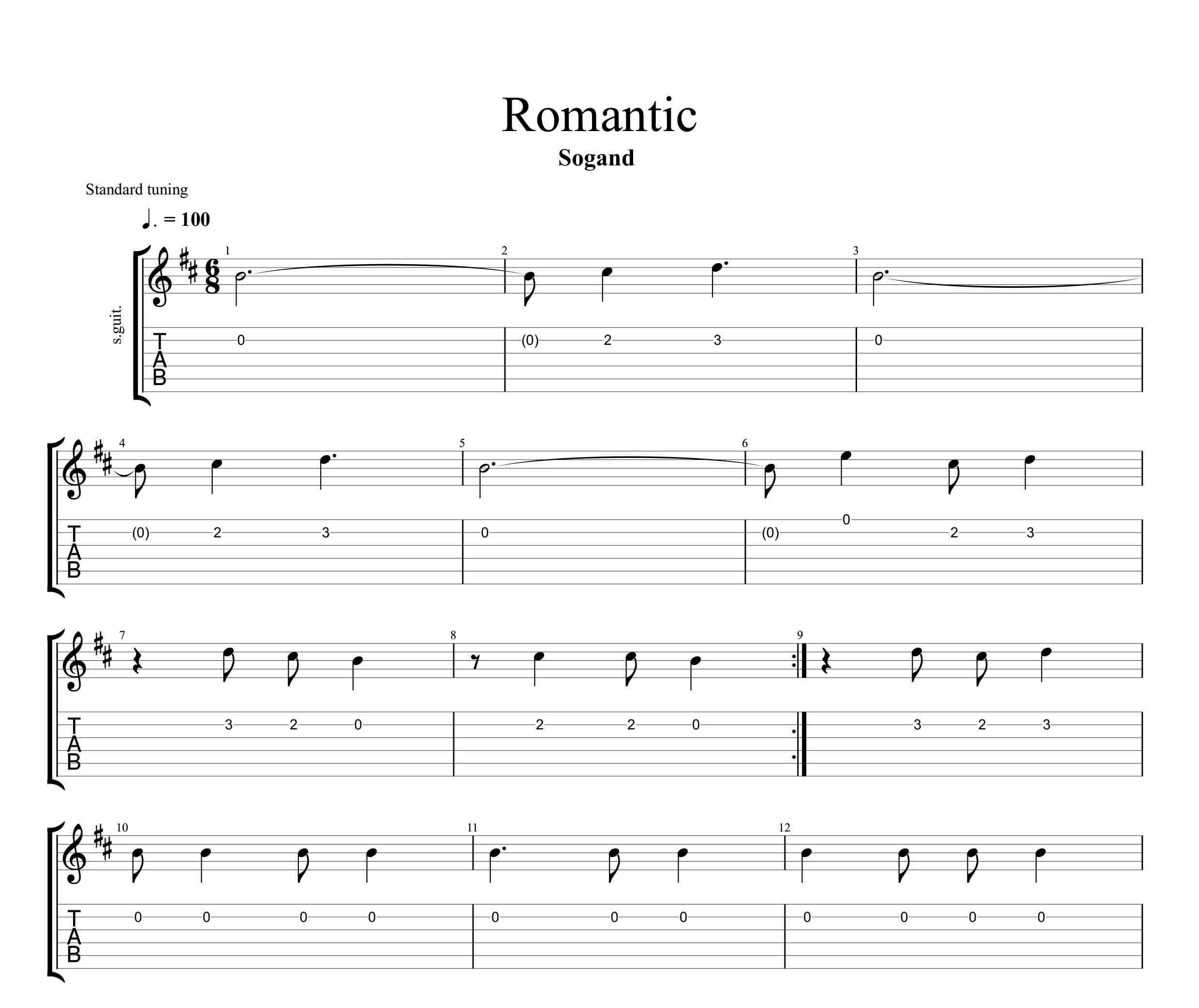 نت و تبلچر آهنگ رمانتیک از سوگند برای گیتار