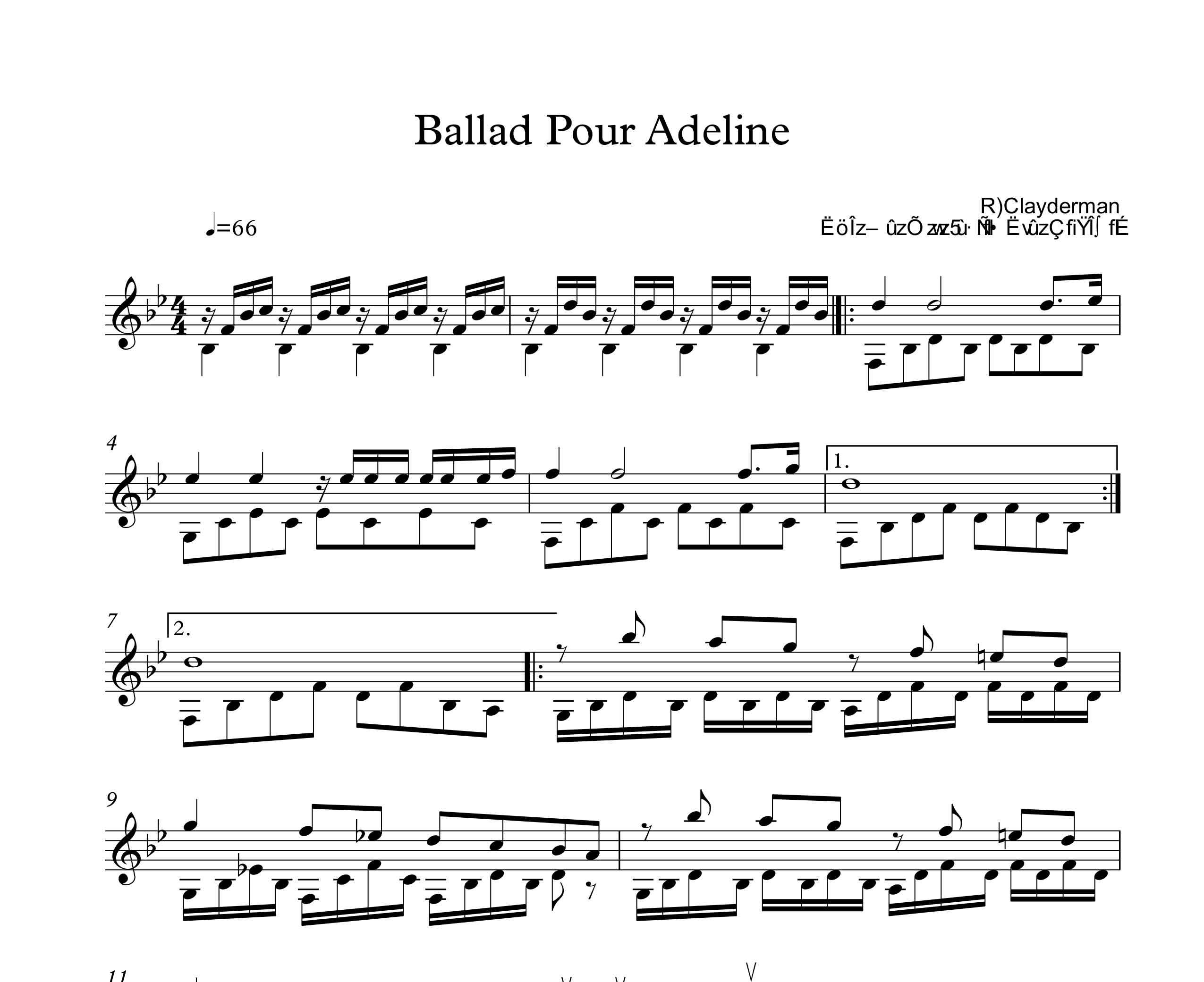 نت سنتور آهنگ Ballad Pour Adeline
