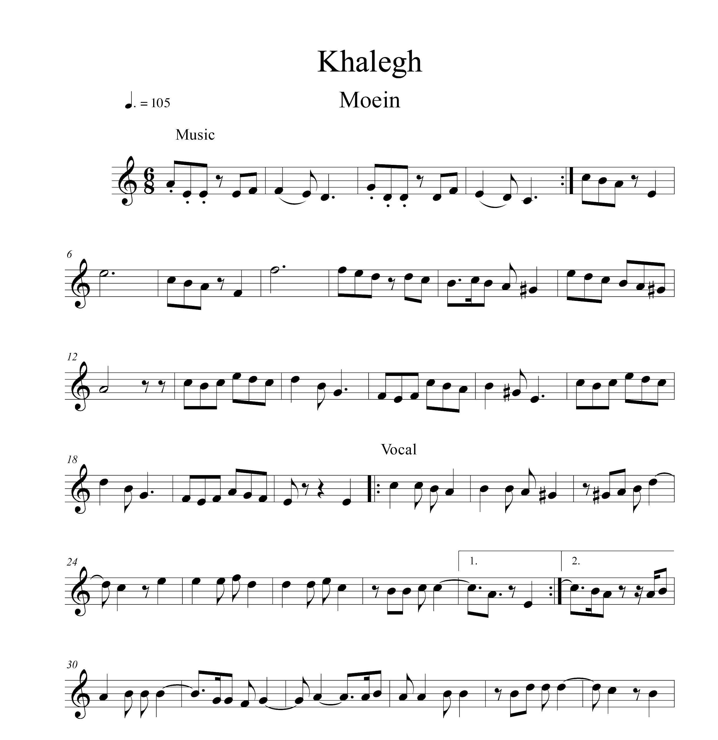 نت ویولن آهنگ خالق از معین با تنظیم سینا حسن پور