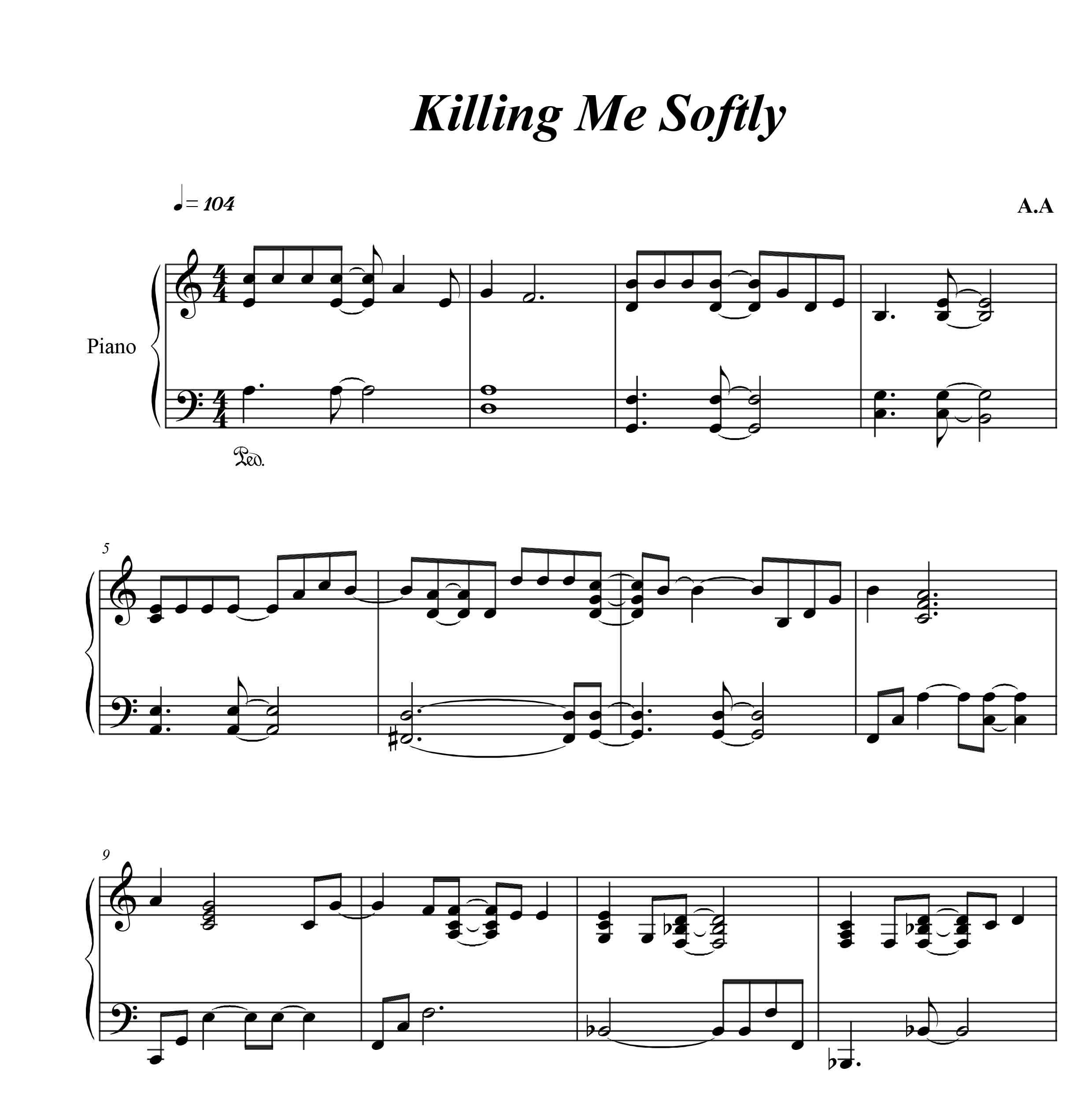 نت پیانو  Killing Me Softly